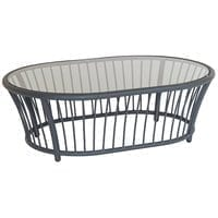 Alexander Rose Cordial Grey Oval Coffee Table with Glass Top