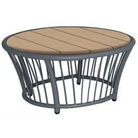 Alexander Rose Cordial Grey Round Coffee Table with Roble Top