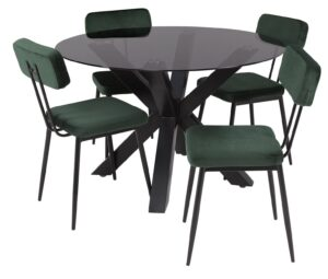 Argos Home Alden Smoked Glass Dining Table & 4 Green Chairs