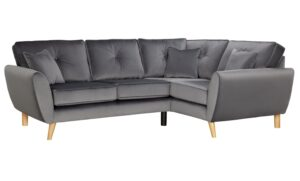 Argos Home Isla Right Corner Velvet Sofa – Grey