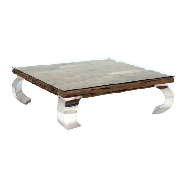 Caspian Terni Small Square Reclaimed Wood Coffee Table with Glass top