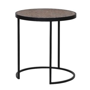 Etched Wood and Iron Side Table