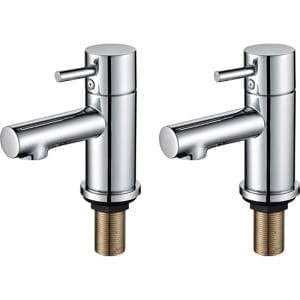 GoodHome Lazu Chrome-plated Bath Pillar Tap Pack of 2