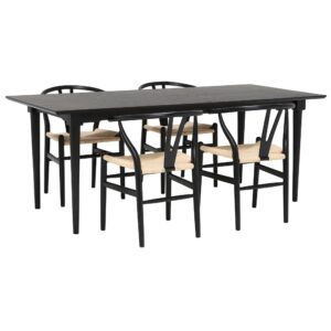 Hague 200cm Dining Table with 4 Hans Wishbone Dining Chairs, Black