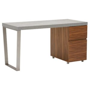 Halmstad Office Desk, Concrete and Walnut