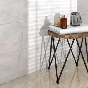 Illusion White Gloss Marble effect Ceramic Floor tile Pack of 10 (L)360mm (W)275mm