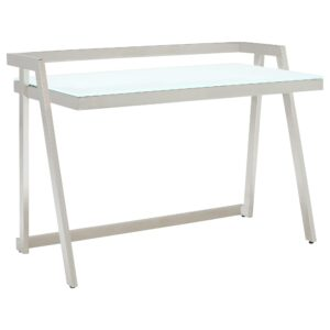 Luka Glass And Metal Desk, White