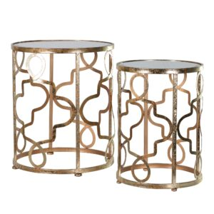 Pair of Patterned Side Tables, Gold