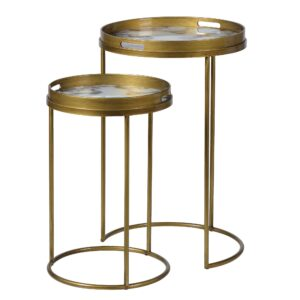 Pair of Tray Side Tables, Gold and Marble effect