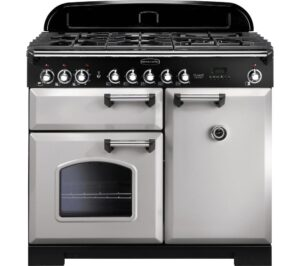 RANGEMASTER Classic Deluxe 100 Dual Fuel Range Cooker - Royal Pearl & Chrome, Brown
