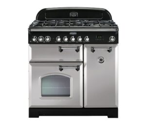 RANGEMASTER Classic Deluxe 90 Dual Fuel Range Cooker - Royal Pearl & Chrome, Brown