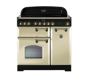 RANGEMASTER Classic Deluxe 90 Electric Induction Range Cooker - Cream & Brass, Cream