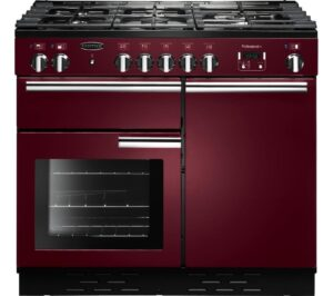 RANGEMASTER Professional 100 Dual Fuel Range Cooker - Cranberry & Chrome, Cranberry