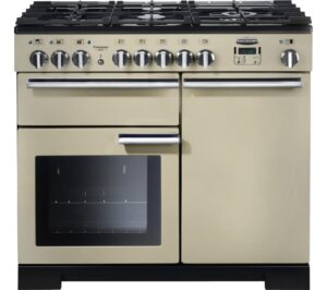 RANGEMASTER Professional Deluxe 100 Dual Fuel Range Cooker - Cream & Chrome, Cream