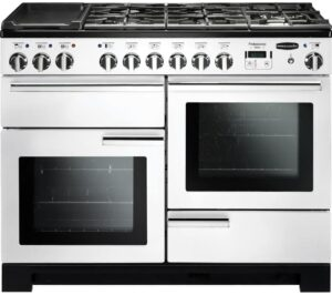 RANGEMASTER Professional Deluxe 110 Dual Fuel Range Cooker - White & Chrome, White