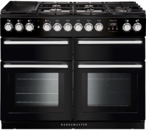 Rangemaster Nexus SE NEXSE110DFFBL/C 110 cm Dual Fuel Range Cooker - Black & Chrome, Black