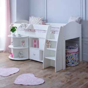 Rondo C Childrens Midsleeper Bed with pull out Desk and Storage