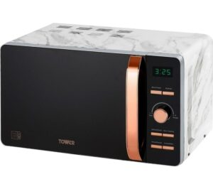 TOWER T24021WMRG Solo Microwave - Marble & Rose Gold, Gold
