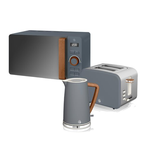 1.7L Stainless Steel Electric Kettle with Microwave and 2 Slice Toaster Swan Colour: Grey