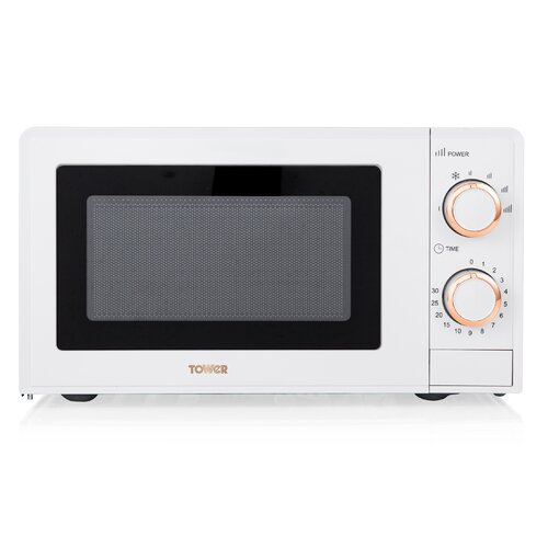 17 L 700W Countertop Microwave Tower Colour/Finish: White/Rose Gold