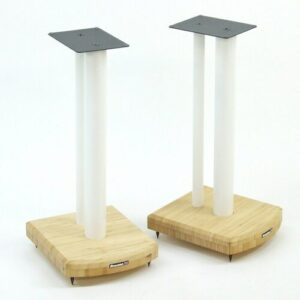 50cm Fixed Height Speaker Stand Symple Stuff Finish: White/Natural Bamboo