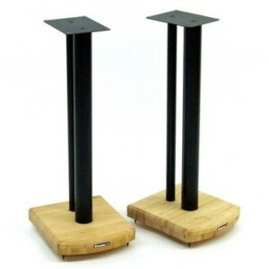 60cm Fixed Height Speaker Stand Symple Stuff Finish: Satin Black/Natural Bamboo
