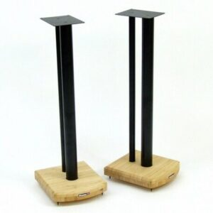70cm Fixed Height Speaker Stand Symple Stuff Finish: Black/Natural Bamboo