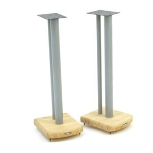 70cm Fixed Height Speaker Stand Symple Stuff Finish: Silver/Natural Bamboo