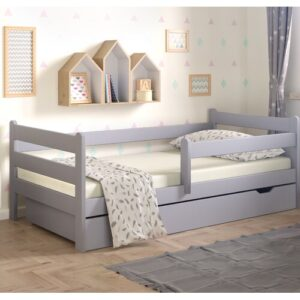 Anabelle Cot Bed with Drawer Nordville Lying surface: 80 x 160cm, Colour: Grey