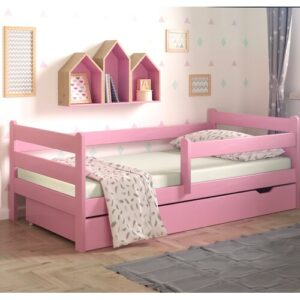 Anabelle Cot Bed with Drawer Nordville Lying surface: 80 x 160cm, Colour: Pink