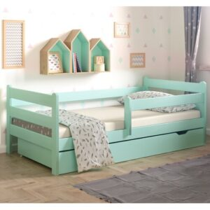 Anabelle Cot Bed with Drawer Nordville Lying surface: 80 x 160cm, Colour: Turquoise