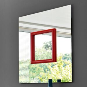 Belk Square Wall Mirror Ebern Designs Finish: Red, Size: 110 cm H x 110 cm W x 5 cm D