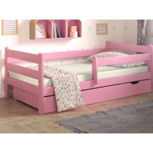 Cabin Bed with Drawer Nordville Lying surface: European Toddler (80 x 160 cm), Bed frame colour: Pink