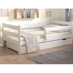 Cabin Bed with Drawer Nordville Lying surface: European Toddler (80 x 160 cm), Bed frame colour: White