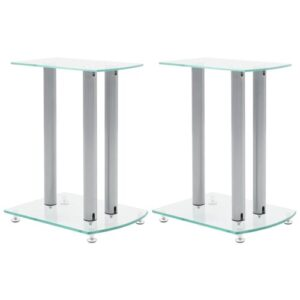 Center Channel Speaker Stand Ebern Designs Finish: Grey, Glass Colour: Clear