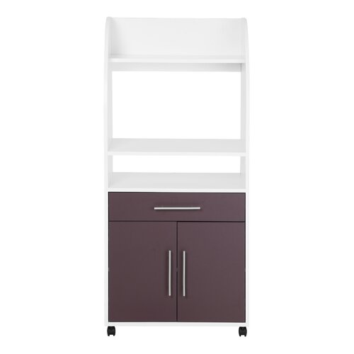 Curved Microwave Kitchen Trolley Ebern Designs Finish: White/Concrete Look