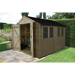 Forest Garden 10 x 8 ft Apex Tongue & Groove Pressure Treated Double Door Shed with Assembly