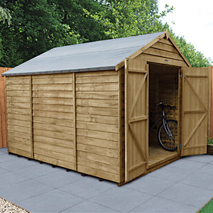 Forest Garden 10 x 8 ft Large Apex Overlap Pressure Treated Double Door Windowless Shed with Assembly