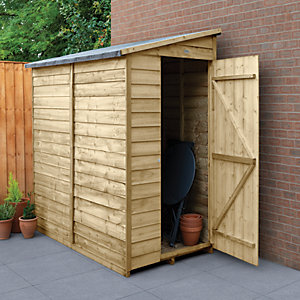 Forest Garden 6 x 3 ft Small Lean-To Pressure Treated Windowless Shed with Assembly
