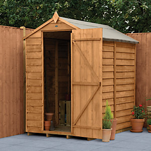 Forest Garden 6 x 4 ft Apex Overlap Dip Treated Windowless Shed with Assembly
