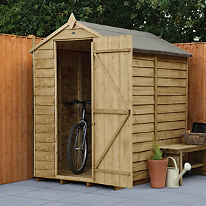 Forest Garden 6 x 4 ft Apex Overlap Pressure Treated Windowless Shed with Assembly