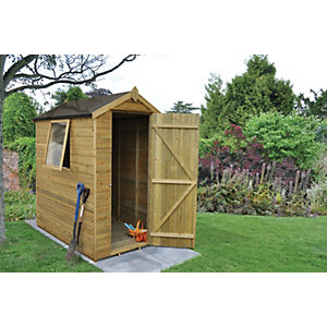 Forest Garden 6 x 4 ft Apex Tongue & Groove Pressure Treated Shed with Assembly