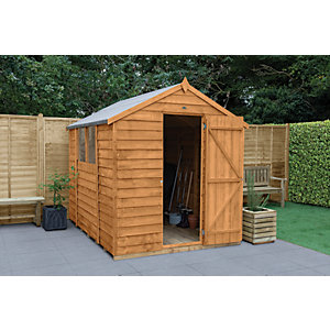 Forest Garden 8 x 6 ft Apex Overlap Dip Treated Shed with Assembly