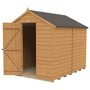 Forest Garden 8 x 6 ft Apex Overlap Dip Treated Windowless Shed with Assembly