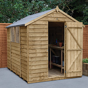 Forest Garden 8 x 6 ft Apex Overlap Pressure Treated Shed