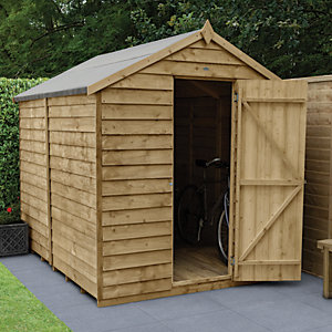 Forest Garden 8 x 6 ft Apex Overlap Pressure Treated Windowless Shed with Assembly