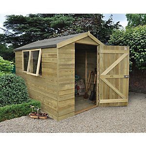 Forest Garden 8 x 6 ft Apex Tongue & Groove Pressure Treated Shed with Opening Windows with Assembly