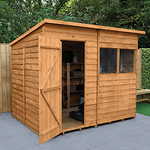 Forest Garden 8 x 6 ft Pent Overlap Dip Treated Shed with Assembly