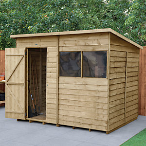 Forest Garden 8 x 6 ft Pent Overlap Pressure Treated Shed with Assembly