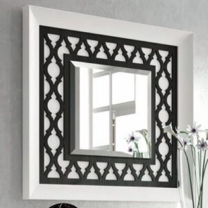 Gemonio Wall Mirror Bloomsbury Market Finish: Distressed White/BlackSmoke